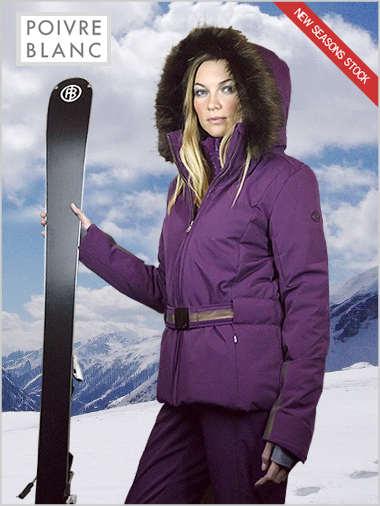 Stretch ski jacket (fake fur) plum