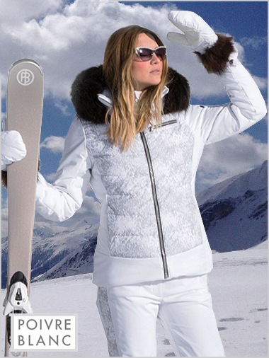 Cloud silver quilted ski jacket (fake fur)