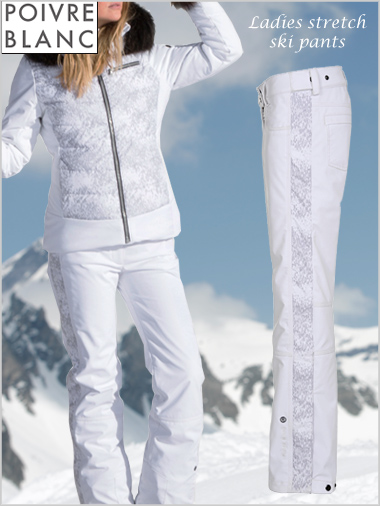 Ladies stretch ski pants jean cut - white / cloud
