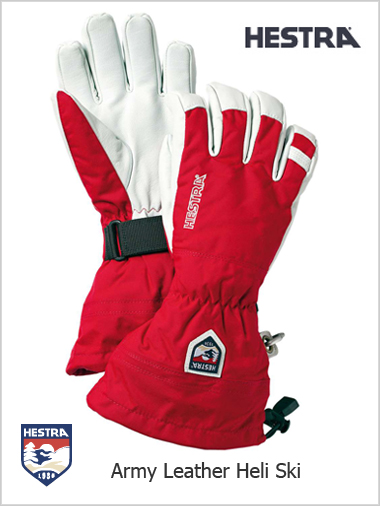 Army Leather Heli Ski gloves - red