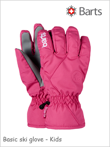 Child - junior: Basic ski gloves Kids - fuchsia  (ages 4 - 12)