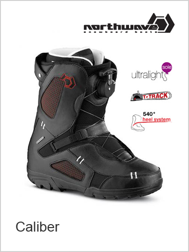 Caliber mens snowboard boot - black / red
