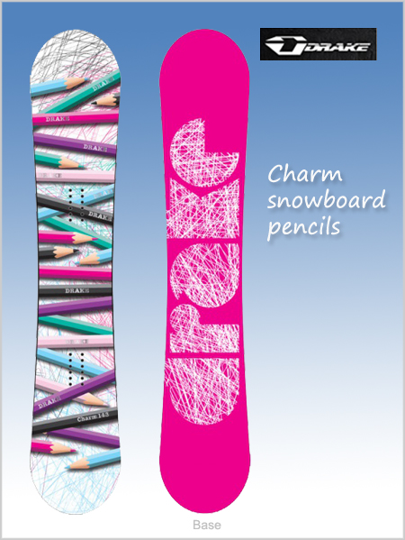 Charm snowboard - pencils (only 143cm now left)