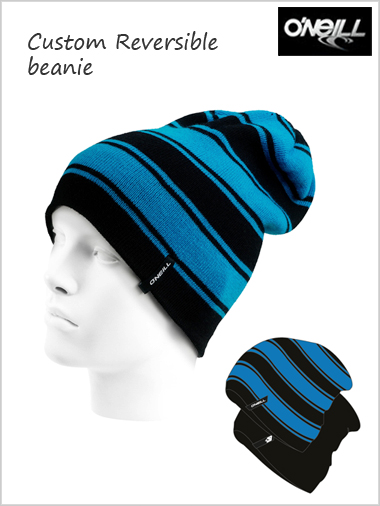 Custom reversible beanie - Dresden blue