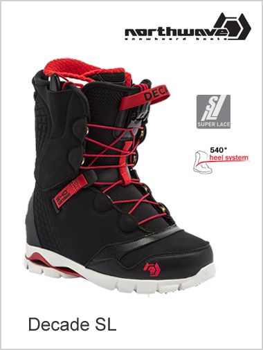 Decade SL mens snowboard boot - black / red