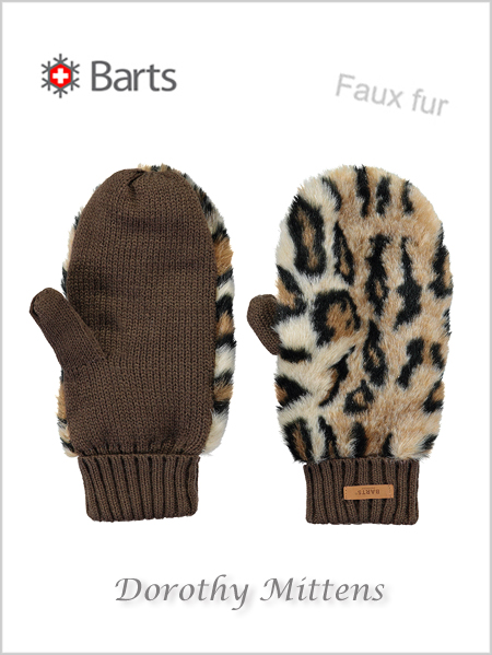 Dorothy mittens - faux fur leopard