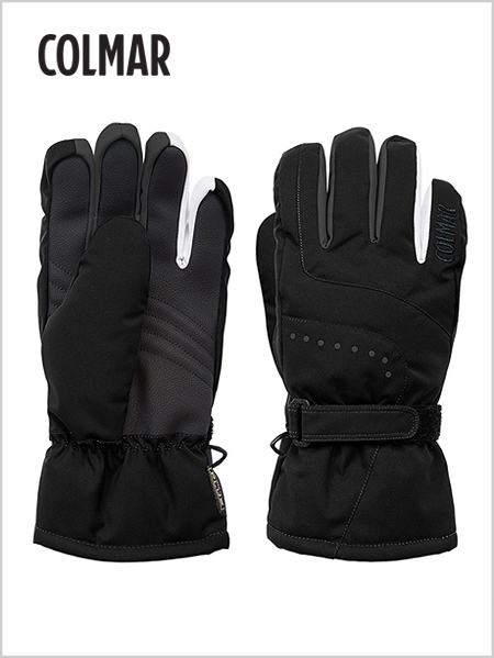 Faux-fur lined ski gloves - black