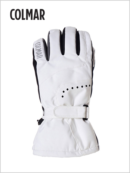 Faux-fur lined ski gloves - white