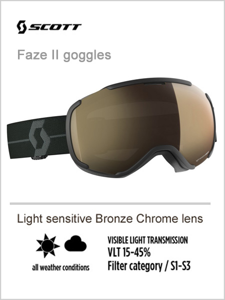 Faze II goggles -  light sensitive bronze chrome lens