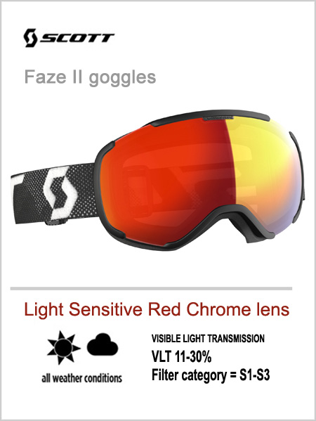 Faze II goggles -  light sensitive red chrome lens
