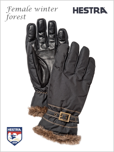 Female winter forest gloves - black