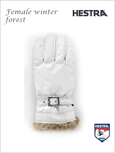 Female winter forest gloves - white