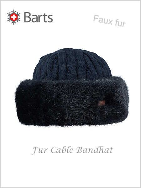 Fur Cable Bandhat - faux fur navy