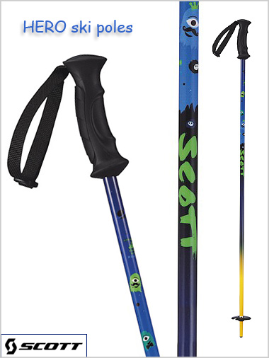 Junior ski poles - HERO blue: 80cm - 110cm