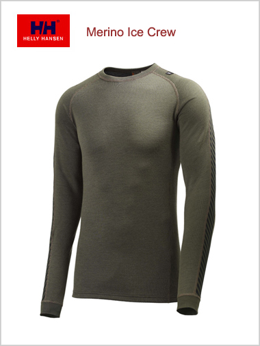 Mens - Warm Ice crew top (Merino base layer) - Walnut (Small)