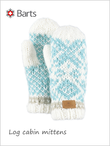 Log cabin knit mittens - cream