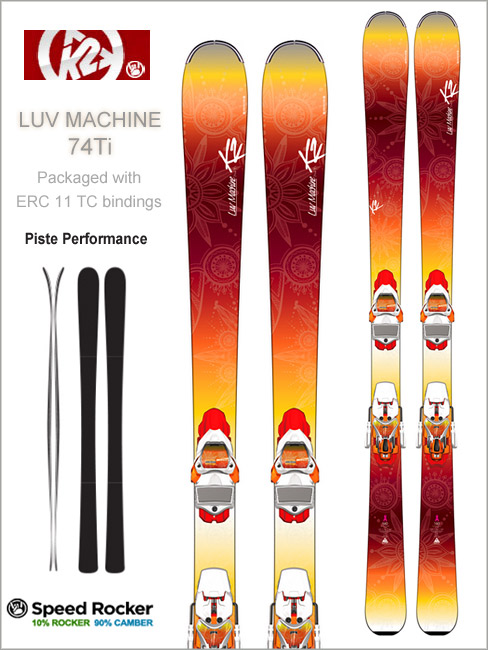 Luv Machine 74Ti skis and ERC 11 TC bindings