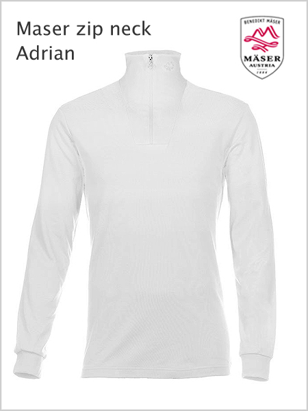 Maser Adrian mens zip neck top - White (larger sizes)