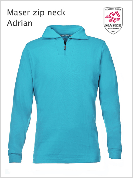 Maser Adrian mens zip neck top -  Bachelor Button (only S now)