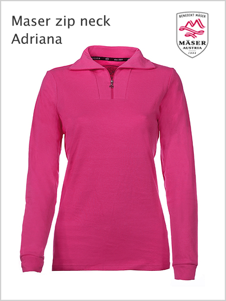 Maser Womens Adriana zip neck top - Magenta (only XL now)