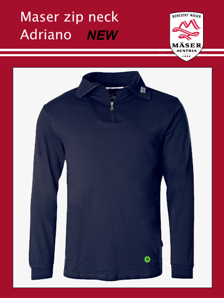 Maser Adriano mens zip neck top - Navy
