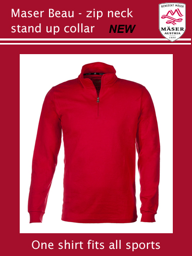 Maser Beau mens zip neck stand-up collar - red