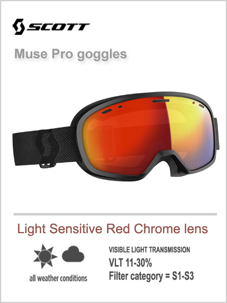 Muse pro goggles -  light sensitive red chrome lens