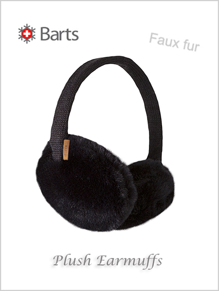 Faux Fur Plush Earmuffs - black