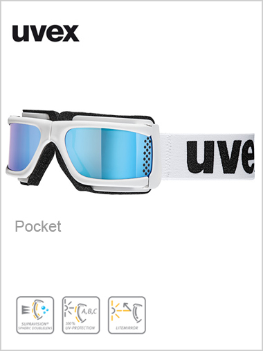 Pocket ski goggle - white / blue mirror