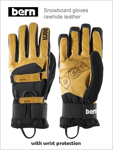 Snowboard gloves: Rawhide Leather + removeable wrist guard