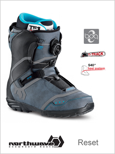 Reset mens snowboard boot NEW - black / cyan