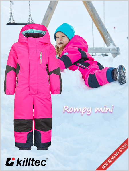 Age 3-8: Rompy Mini girls one-piece ski suit