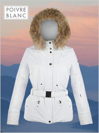 Lara stretch ski jacket (fake fur) white (UK 12-14 left)