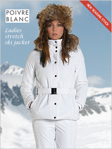Ladies Stretch Ski Jacket Fake Fur By Poivre Blanc Alpine