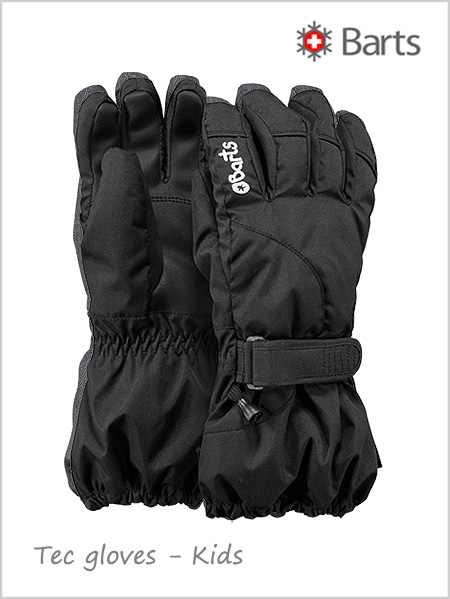Child - junior: Tec gloves kids - black (ages 6-12)