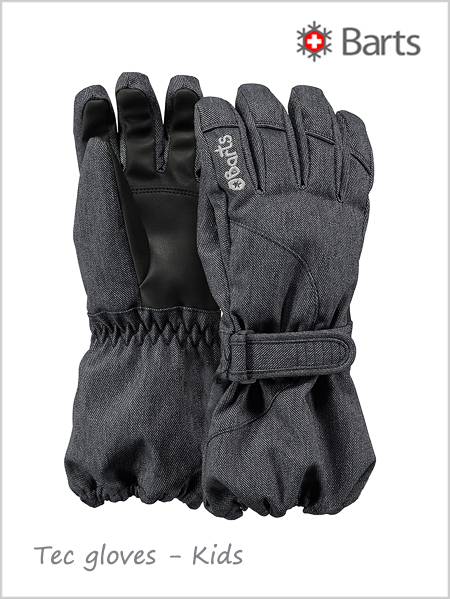 Child - junior: Tec gloves Kids - black (ages 6 - 10)