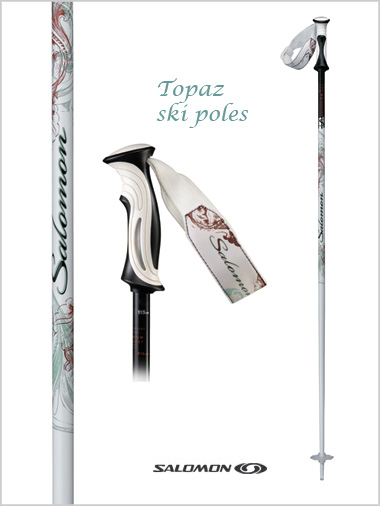 Womens ski poles - Topaz (white/patterned) 110cm
