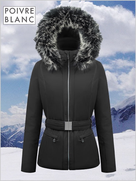 Louisa stretch ski jacket (fake fur) black (up to UK 22)