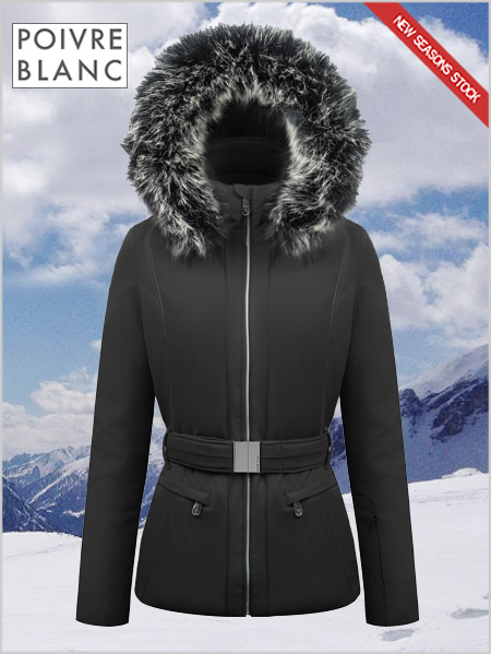 Louisa stretch ski jacket (fake fur) black