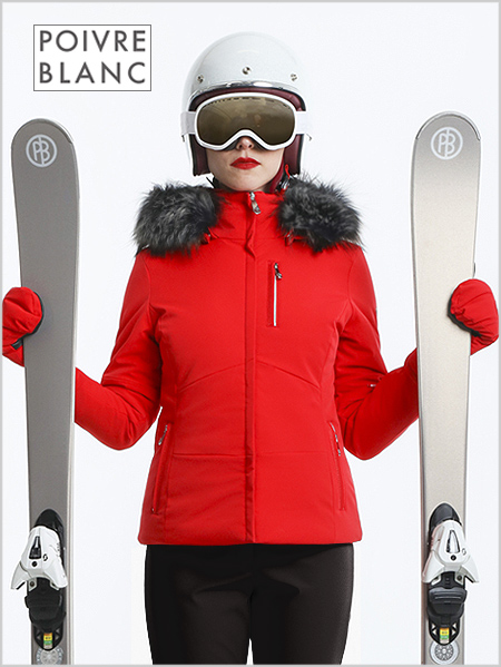 Elise stretch ski jacket (fake fur) red