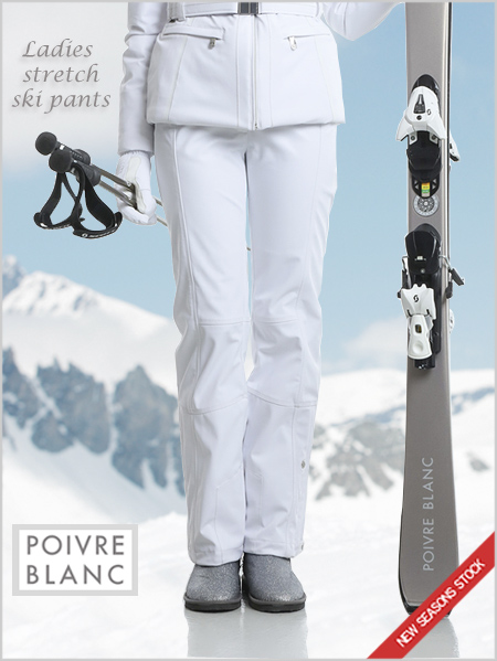Ladies stretch ski pants (white) - short and regular fitting