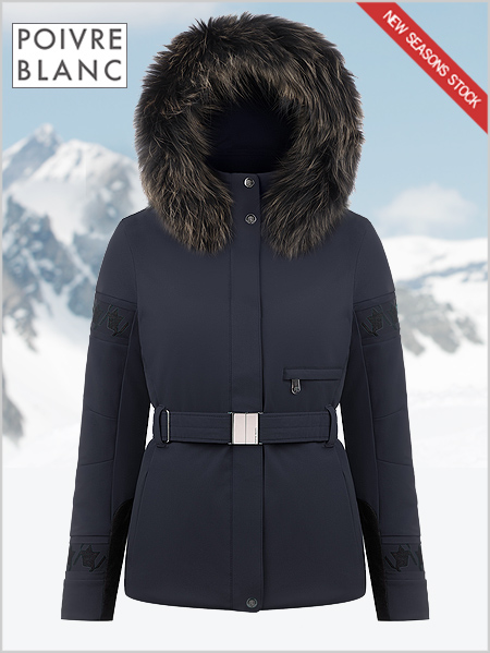 Stephanie stretch ski jacket (fake fur) - Gothic blue