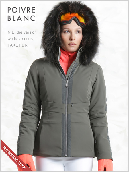 Yvonne stretch ski jacket (fake fur) - Khaki grey