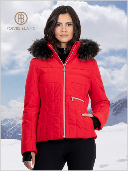 Colette ski jacket (fake fur) - Scarlet Red