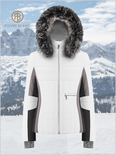 Colette ski jacket (fake fur) - White / Multi