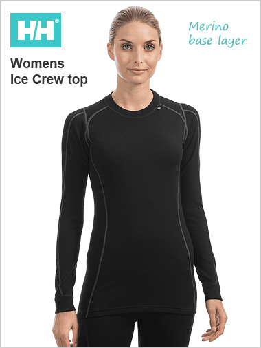 HH W Warm Ice crew top (Merino base layer) - Black