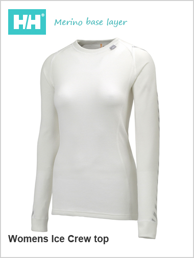 HH W Warm Ice crew top (Merino base layer) - white