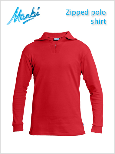 Zip polo shirt - red