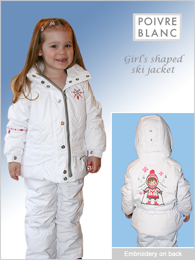 Age 5: Girl's shaped ski jacket - white