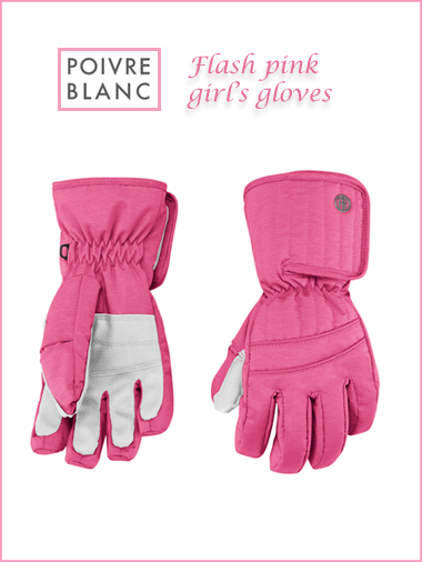 Junior: Flash pink girl's gloves (Age 8-9)